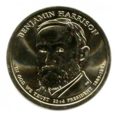23-й президент США. Бенджамин Гаррисон. Монетный двор P. 1 доллар, 2012 год, США.