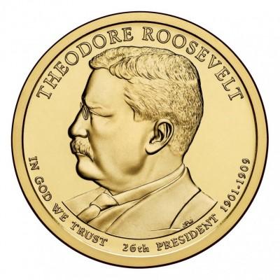 26-й президент США. Теодор Рузвельт. Монетный двор D. 1 доллар, 2013 год, США.