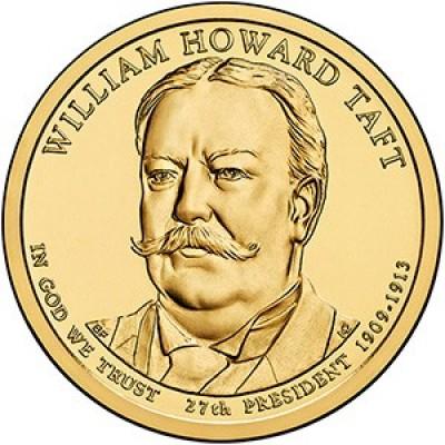 27-й президент США. Уильям Говард Тафт. Монетный двор D. 1 доллар, 2013 год, США.