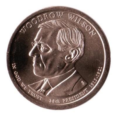 28-й президент США. Томас Вудро Вильсон. Монетный двор P. 1 доллар, 2013 год, США.