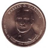 29-й президент США. Уоррен Хардинг. Монетный двор D. 1 доллар, 2014 год, США.