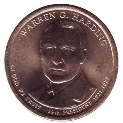 29-й президент США. Уоррен Хардинг. Монетный двор P. 1 доллар, 2014 год, США.