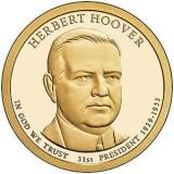 31-й президент США. Герберт Гувер. Монетный двор D. 1 доллар, 2014 год, США.