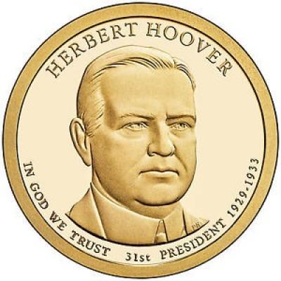 31-й президент США. Герберт Гувер. Монетный двор P. 1 доллар, 2014 год, США.