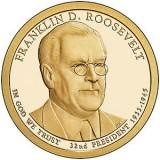 32-й президент США. Франклин Рузвельт. Монетный двор D. 1 доллар, 2014 год, США.
