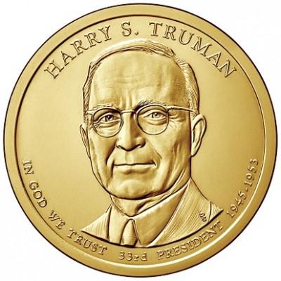 33-й президент США. Гарри Трумэн. Монетный двор P. 1 доллар, 2015 год, США.