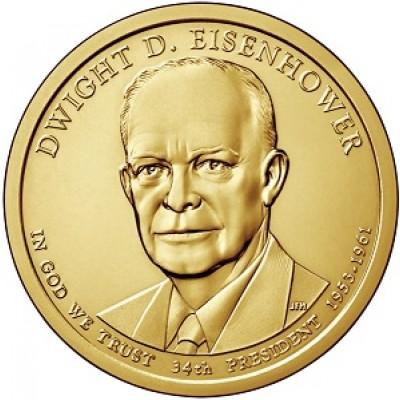 34-й президент США. Дуайт Эйзенхауэр. Монетный двор P. 1 доллар, 2015 год, США