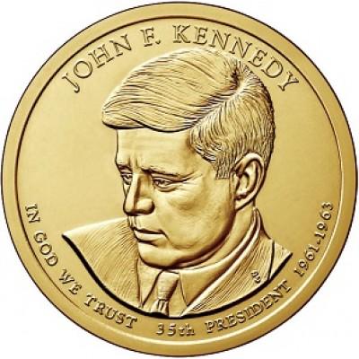 35-й президент США. Джон Кеннеди. Монетный двор P. 1 доллар, 2015 год, США.