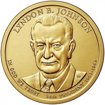 36-й президент США. Линдон Джонсон. Монетный двор P. 1 доллар, 2015 год, США.