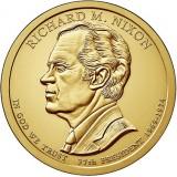 37-й президент США. Ричард Никсон. Монетный двор D. 1 доллар, 2016 год, США.