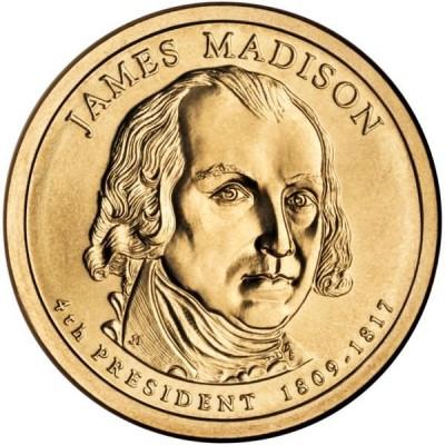 4-й президент США. Джеймс Мэдисон. Монетный двор P. 1 доллар, 2007 год, США.