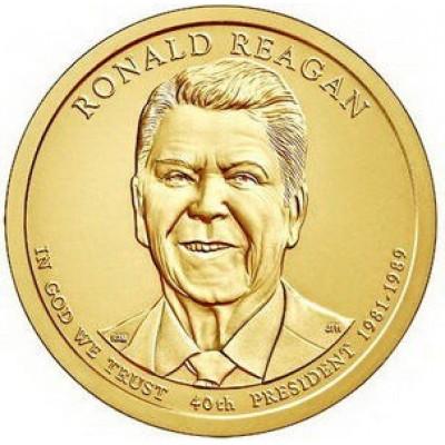 40-й президент США. Рональд Рейган. Монетный двор D. 1 доллар, 2016 год, США.