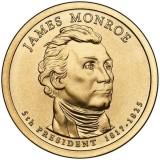 5-й президент США. Джеймс Монро. Монетный двор D. 1 доллар, 2008 год, США.