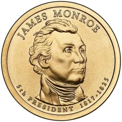 5-й президент США. Джеймс Монро. Монетный двор P. 1 доллар, 2008 год, США.