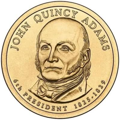 6-й президент США. Джон Куинси Адамс. Монетный двор P. 1 доллар, 2008 год, США.