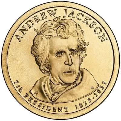 7-й президент США. Эндрю Джексон. Монетный двор P. 1 доллар, 2008 год, США.