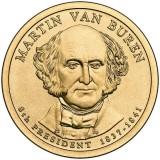8-й президент США. Мартин Ван Бюрен. Монетный двор D. 1 доллар, 2008 год, США.