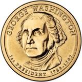 1-й президент США. Джордж Вашингтон. Монетный двор D. 1 доллар, 2007 год, США.