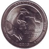 Национальный исторический парк Саратога. Монета 25 центов (D). 2015 год, США.