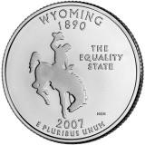Вайоминг. Монета 25 центов (D). 2007 год, США.