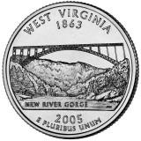 Западная Виргиния. Монета 25 центов (D). 2005 год, США.