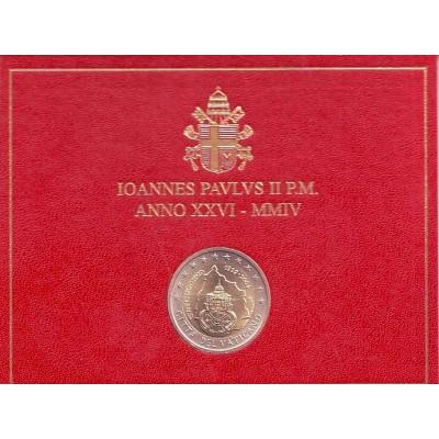 75 лет образования Государства Ватикан. Монета 2 евро. 2004 год, Ватикан. (в буклете)