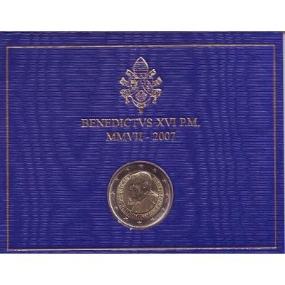 80 лет со дня рождения Папы Римского Бенедикта XVI. Монета 2 евро. 2007 год, Ватикан. (в буклете)