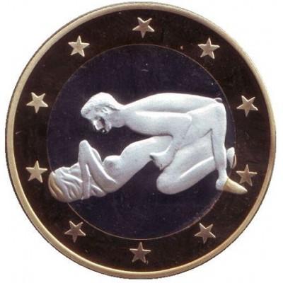 6 эросов (Sex euros). Сувенирный жетон. (Вар. 26)