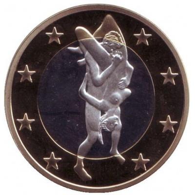 6 эросов (Sex euros). Сувенирный жетон. (Вар. 29)