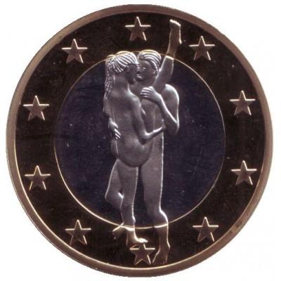 6 эросов (Sex euros). Сувенирный жетон. (Вар. 32)