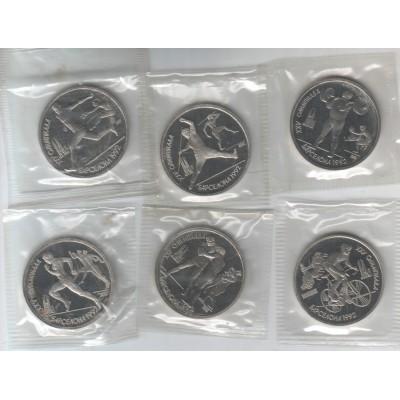 Олимпиада в Барселоне. Набор монет номиналом 1 рубль (6 штук), 1991 год, СССР(В запайке)