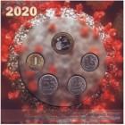 """Набор разменных монет 2020 года с сувенирным жетоном в буклете """"Пандемия COVID-19"""" 2020 год, Россия."""